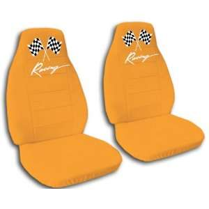 orange racing car seat covers for a 2009 Chevrolet Camaro. Automotive