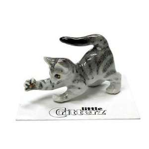 CAT Tiger Grey reachs out while Stretching Lily Kitten New Figurine