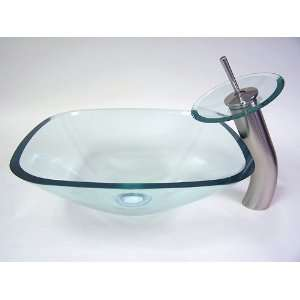 Square Glass Vessel Sink & Brushed Nickel Faucet