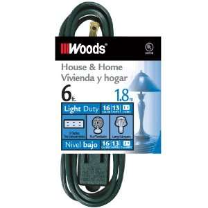 Woods 12600G 6 Foot 3 Outlet Indoor Extension Cords, Green