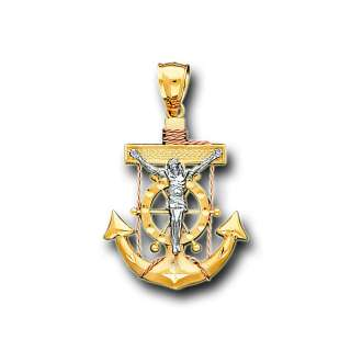 14K Solid Two Tone Gold Jesus Anchor Charm Pendant
