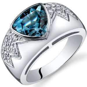Glam Trillion Cut 2.00 Carats London Blue Topaz Cubic Zirconia Ring in