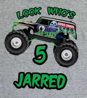 Personalized Grave Digger Monster Truck Birthday Shirt