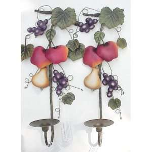 Decorative Wrought Iron Wall Candle Sconces, Fruit Medley