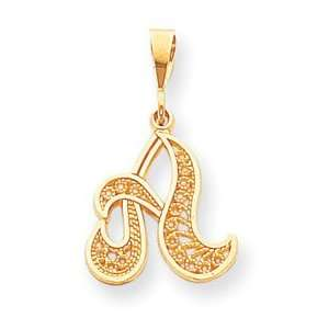 14k Initial A Charm   Measures 28.8x17.4mm   JewelryWeb Jewelry
