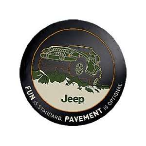 Jeep Wrangler Black Denim Tire Cover, with Fun Is Standard