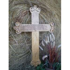 Design Lords Prayer Large Solid Oak Carved Wood Wall Art Cross 24