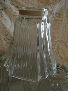 Vintage Square Clear Ribbed Glass Art Deco Lamp/Light Sconce/Shades