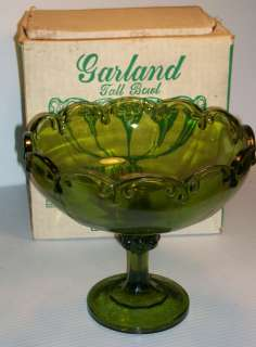 Indiana Glass Garland Tall Bowl In Original Box Olive Green No. 7158