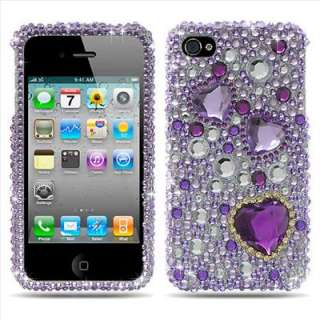 Purple Heart Bling Hard Case Cover Apple iPhone 4 4G