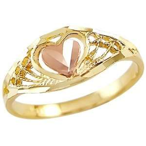 Size  12.5   14k Two Tone Gold Heart Ring Jewelry