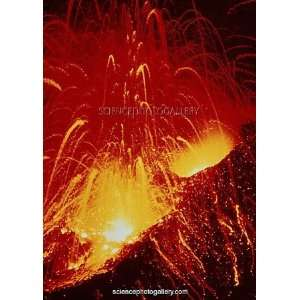 Night view of eruption of Alaid Volcano, CIS Framed Prints