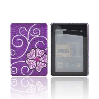 For  Kindle Fire Pink Flower Purple Bling Hard Plastic Shell