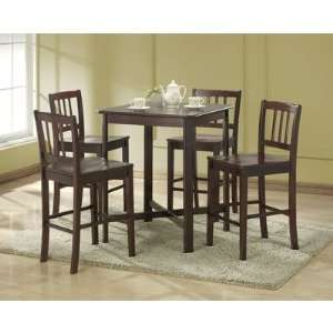 5 Pc Solid Wood Pub Table Set   Espresso