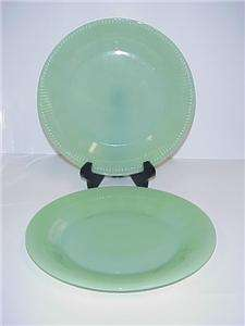 FIRE KING JADITE JANE RAY GLASS LUNCH PLATES SET 2