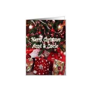 Christmas, aunt & uncle, Christmas tree and gifts Card