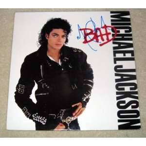 MICHAEL JACKSON autographed SIGNED Bad Record *PROOF
