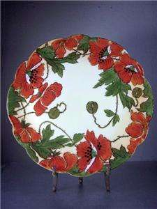 Vtg Art Nouveau HAND PAINTED POPPY PLATE PORCELAIN Arts & Crafts Era