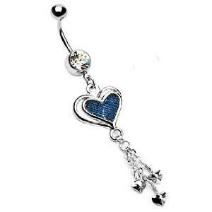 316L Gemmed Belly Ring with Denim Heart Dangle with Three Mini Hearts