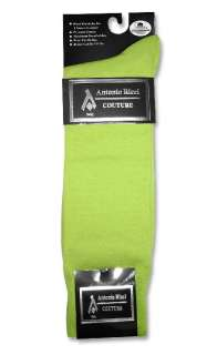 Pair of Antonio Ricci LIME GREEN Color Mens COTTON Dress SOCKS NEW