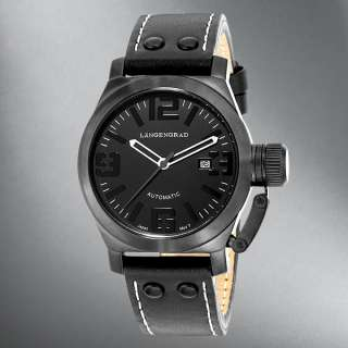Langengrad Mens Black Leather Strap/Black Dial Watch