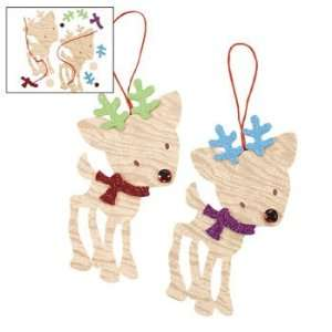 Wood Grain Christmas Reindeer Ornament Craft Kit   Craft