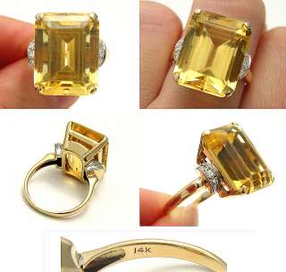ANTIQUE ART DECO OVER 12CT CITRINE EUROPEAN CUT DIAMOND SOLID GOLD