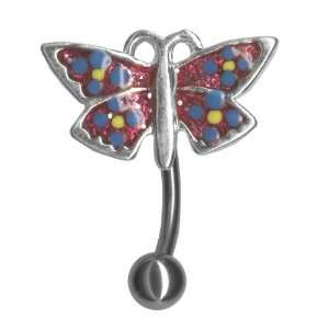 Butterfly Reverse Belly Ring 14g 3/8 Top Down Belly Button Navel Ring