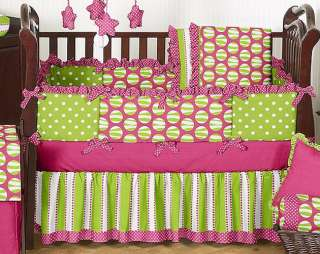 PINK GREEN CHEAP CUSTOM BOUTIQUE GIRL BABY BEDDING COMFORTER CRIB SET