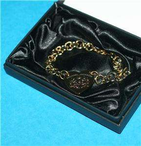 MICHAEL JACKSON King of Pop Gold Plated HEART BRACELET