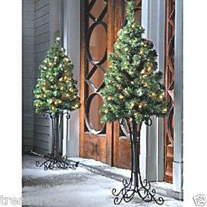 Outdoor Holiday Lighted Pre Lit CHRISTMAS TREE Entry Way w/Metal Stand