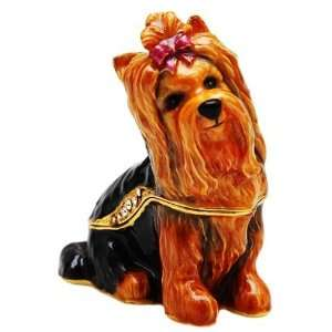Bejeweled Yorkshire Terrier Trinket Box