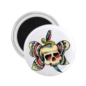 Tattoo Butterfly Skull Art Fridge Souvenir Magnet 2.25