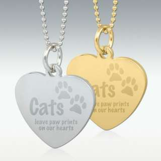 Cats Leave Paw Prints Engraved Heart Pendant   Silver or Gold   Free