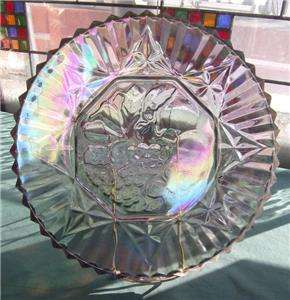 BLUE AMETHYST INDIANA CARNIVAL GLASS GRAPE HARVEST SERVING PLATTER