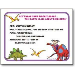 Pen At Hand Stick Figures   Invitations   Dinosaur   Girl
