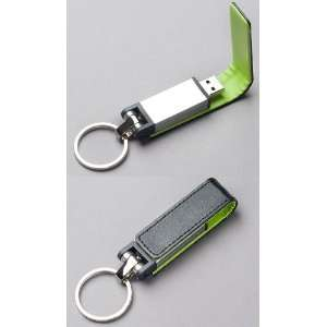 Black Leather w/Green Lining Key FOB USB Flash Memory Drive 16 GB