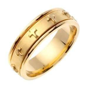 Gold comfort fit Flat Surface Christian Mens Wedding Band Jewelry