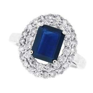 Genuine Sapphire Ring with Diamonds in 10kt White Gold (AB Quality) 6