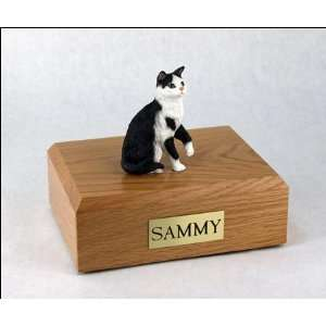 , Black & White Tabby   Sitting Cat Cremation Urn