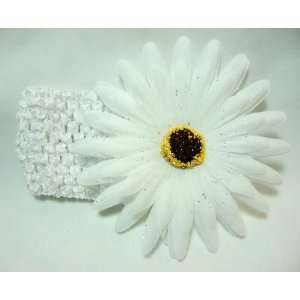White Daisy Flower Girls Crochet Headband Beauty