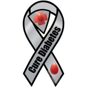Cure Diabetes Awareness Gray 8 Car Magnet Ribbon Magnet