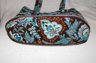Vera Bradley Retired Java Blue & Brown Cotton Satchel Tote Handbag