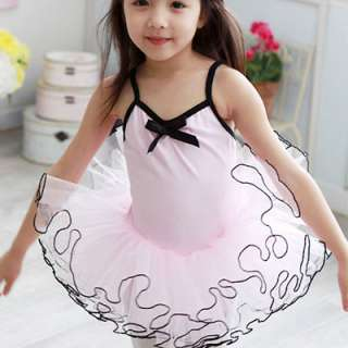 Girls Pink Ballet Tutu Dance Party Leotard Dress 3 8Y
