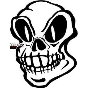 DEFORMED FACE WITH BIG EYES SKULL 10 WHITE VINYL DECAL