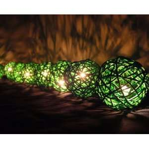 Green Rattan Ball Patio Party String Lights (20/set)