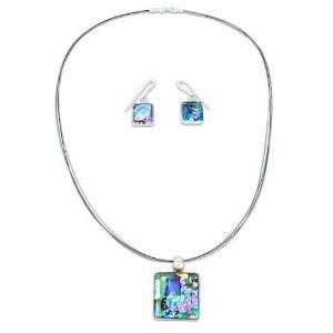 Dichroic art glass jewelry set, Groovy Ice Cubes 18.1 L