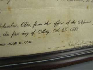 Antique Ohio Civil War Era Discharge Document Framed
