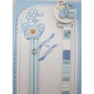 Blue Teddy Bear Ribbon Pacifier Clip Baby