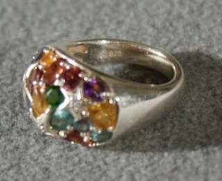 SILVER DIAMOND RAE MULTI GEM STONE & CUT DOMED WIDE BAND RING